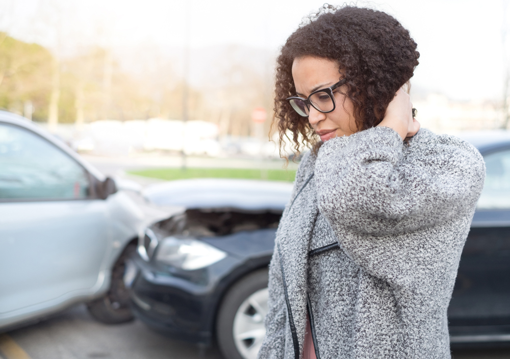 Woman with whiplash from an auto accident